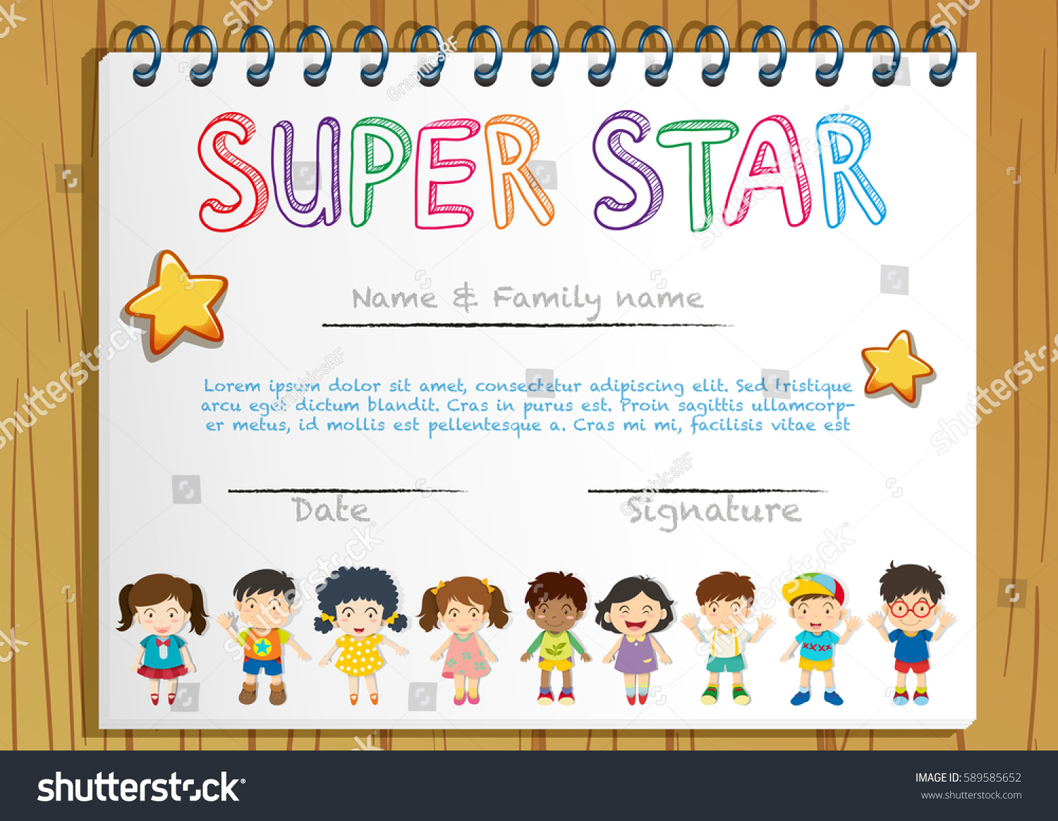 Certificate template super star illustration stock vector certificate template for super star illustration xflitez Choice Image