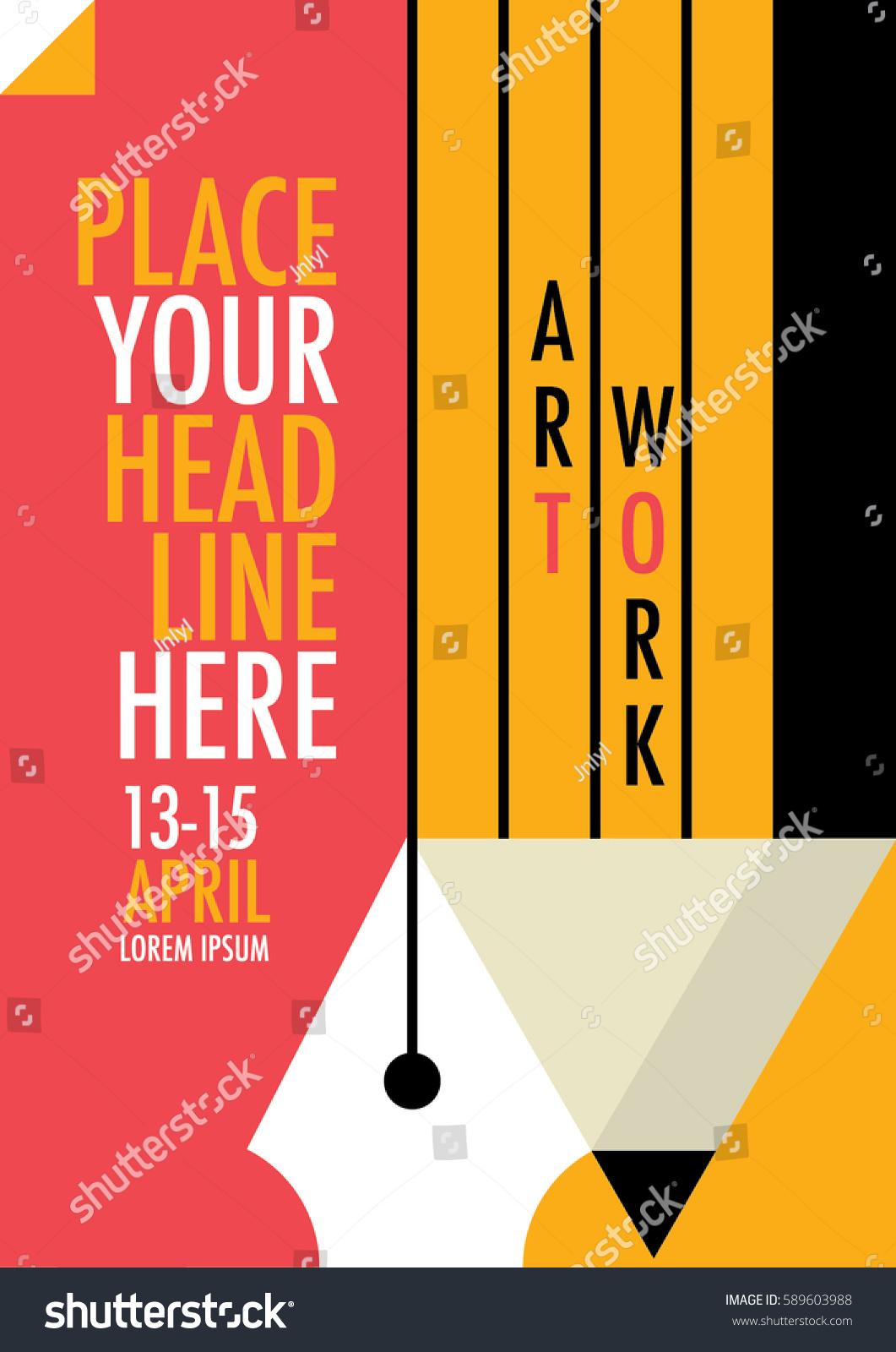 Poster design workshop - Advertising Workshop Poster Design Minimalist Art Poster Illustrations Of Pen Pencil And Paper