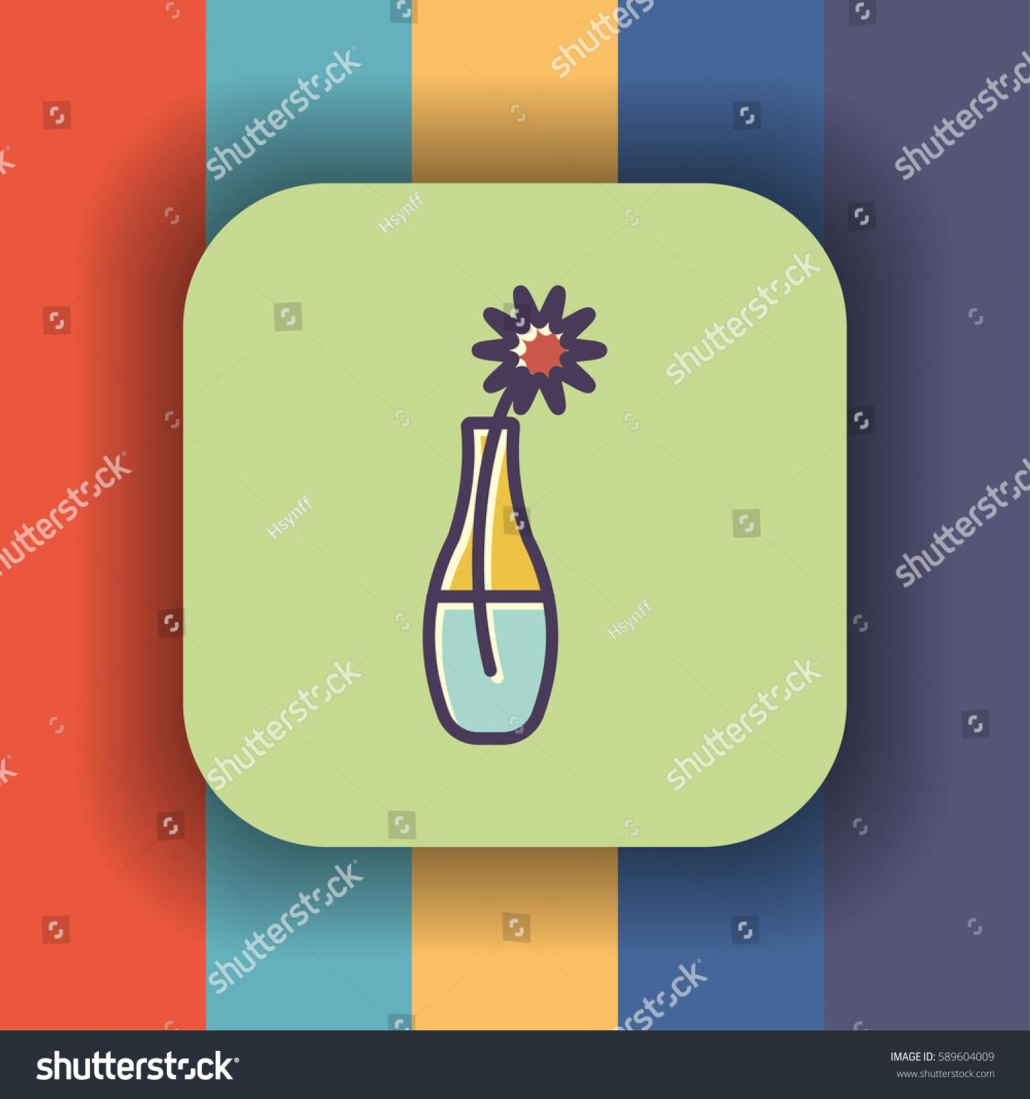 Flower vase icon outline flat offset stock vector 589604009 flower vase icon outline flat offset stock vector 589604009 shutterstock reviewsmspy