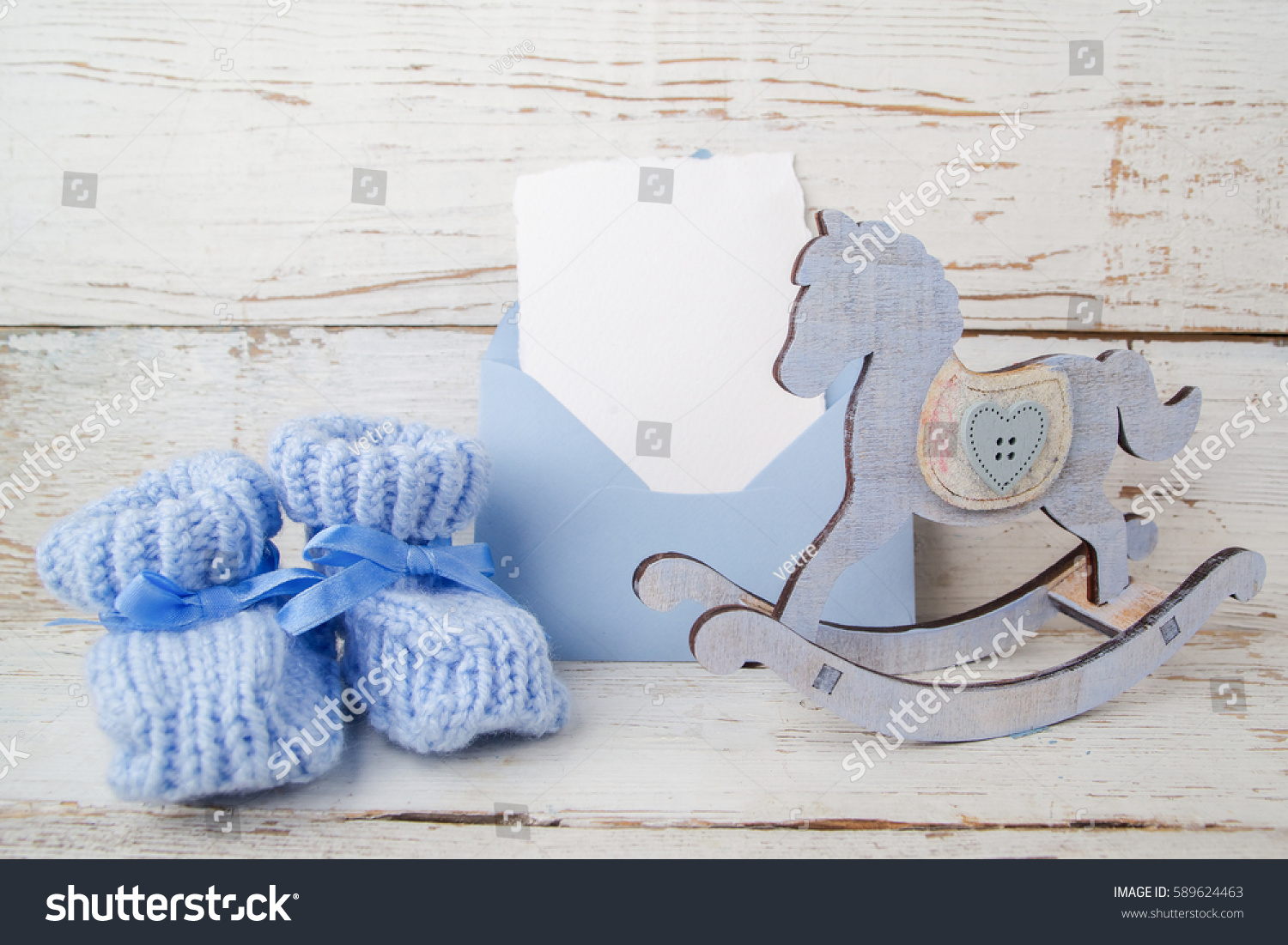 Blue Booties Baby Envelop Empty Card Stock Photo Edit Now
