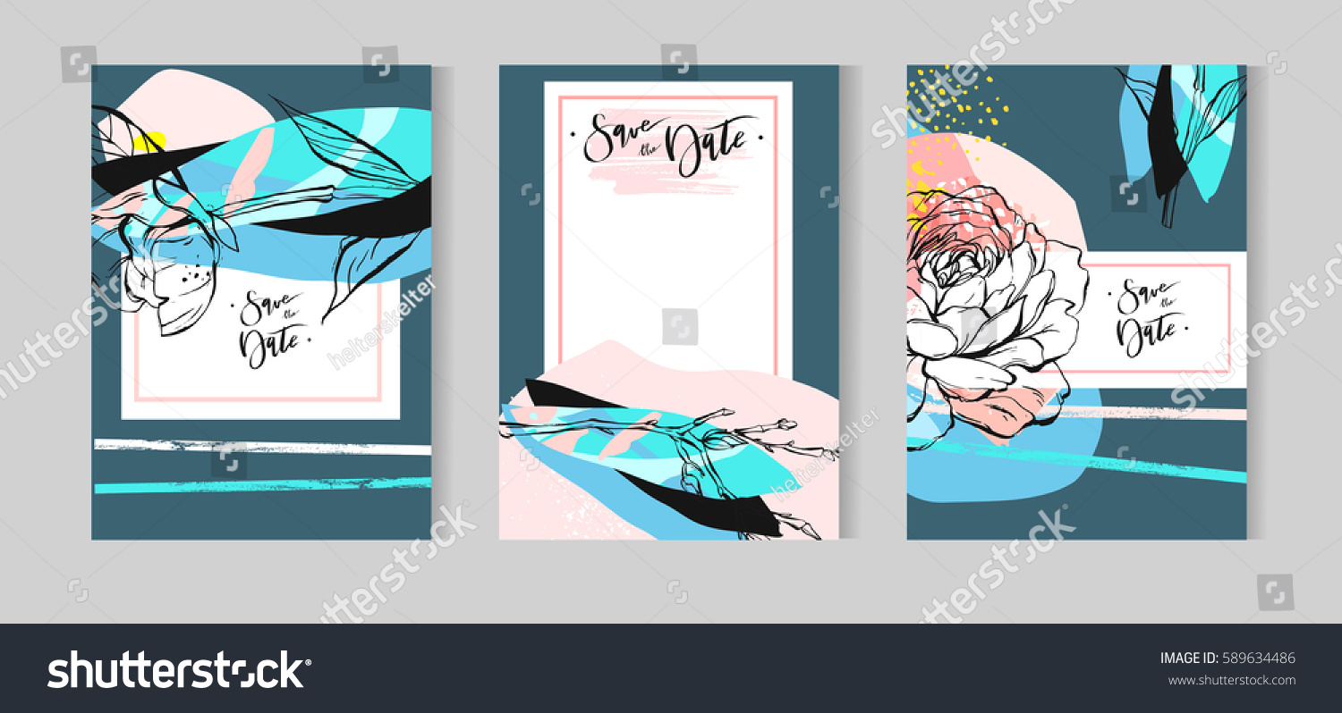 Hand drawn vector abstract creative unusual floral wedding save the ...