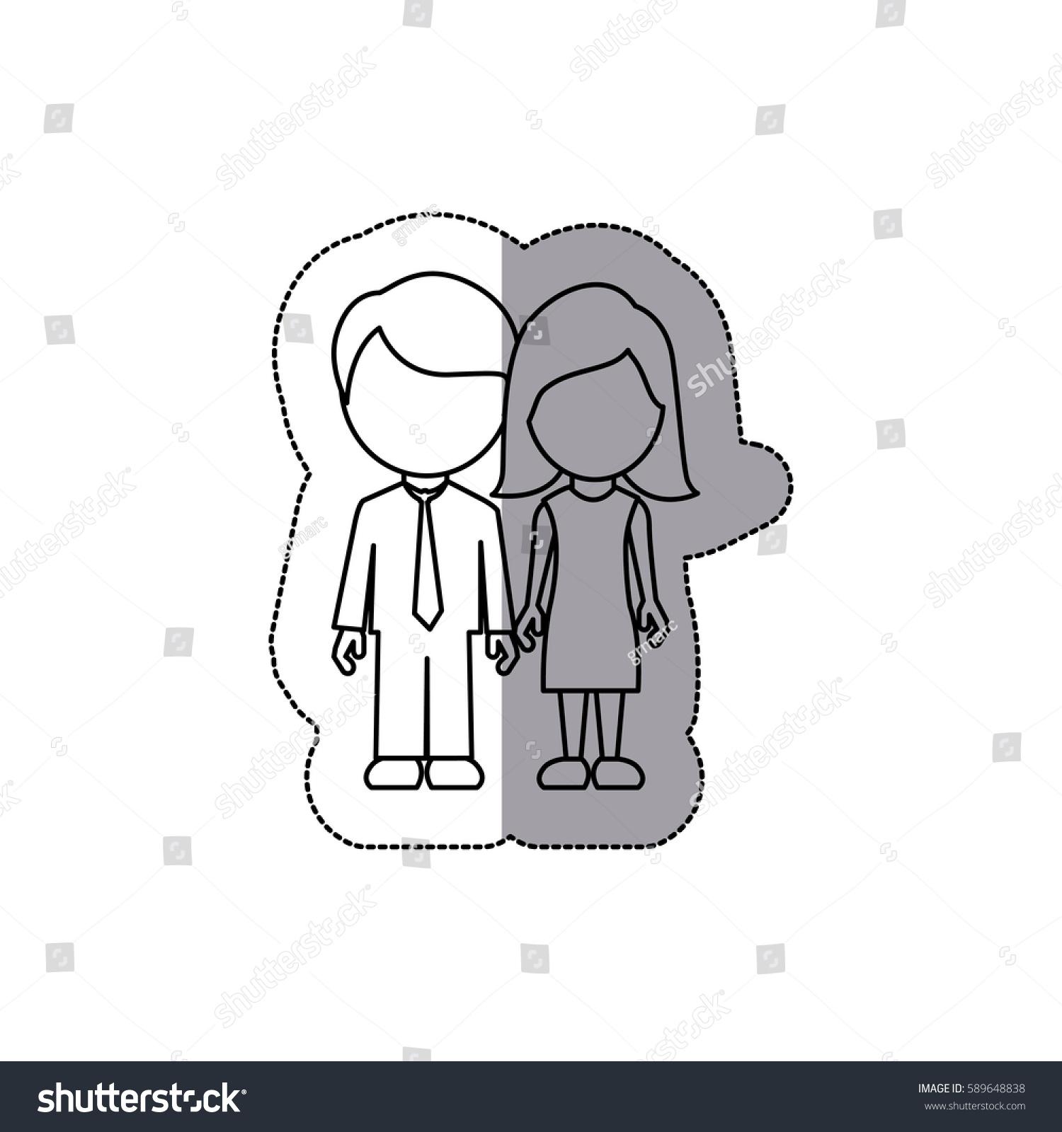 Silhouette Couple Sticker Icon Vector Illustraction Stock Vector ... for Couple Sticker Line  110ylc