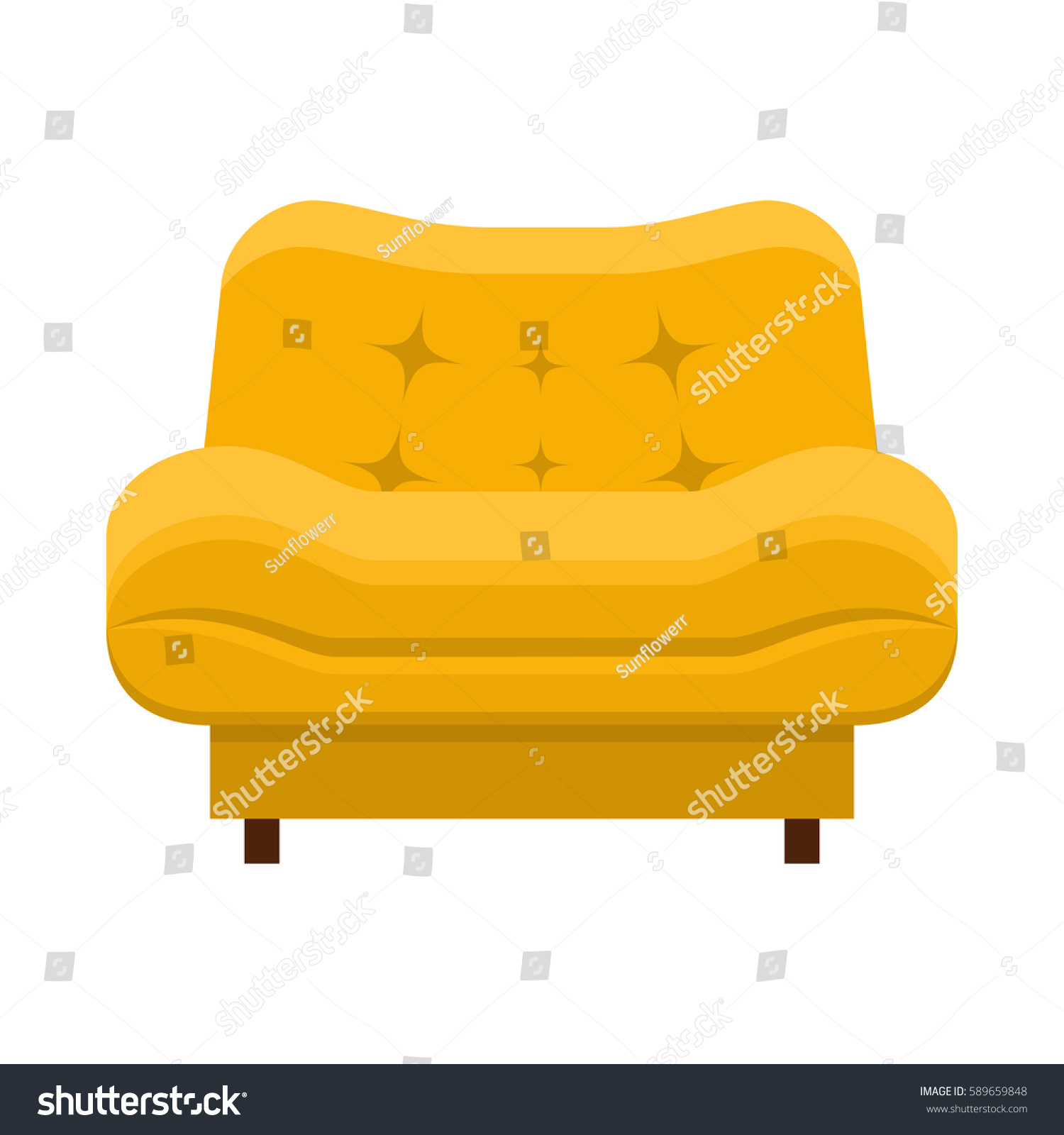 Armchair flat style vector yellow barrel stock vector for Chair design elements