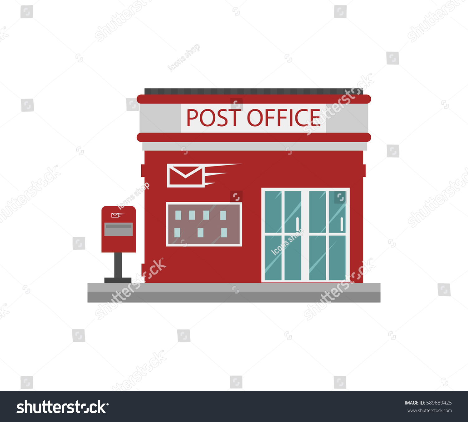 Post Service: Building Post Office Stock Vector 589689425