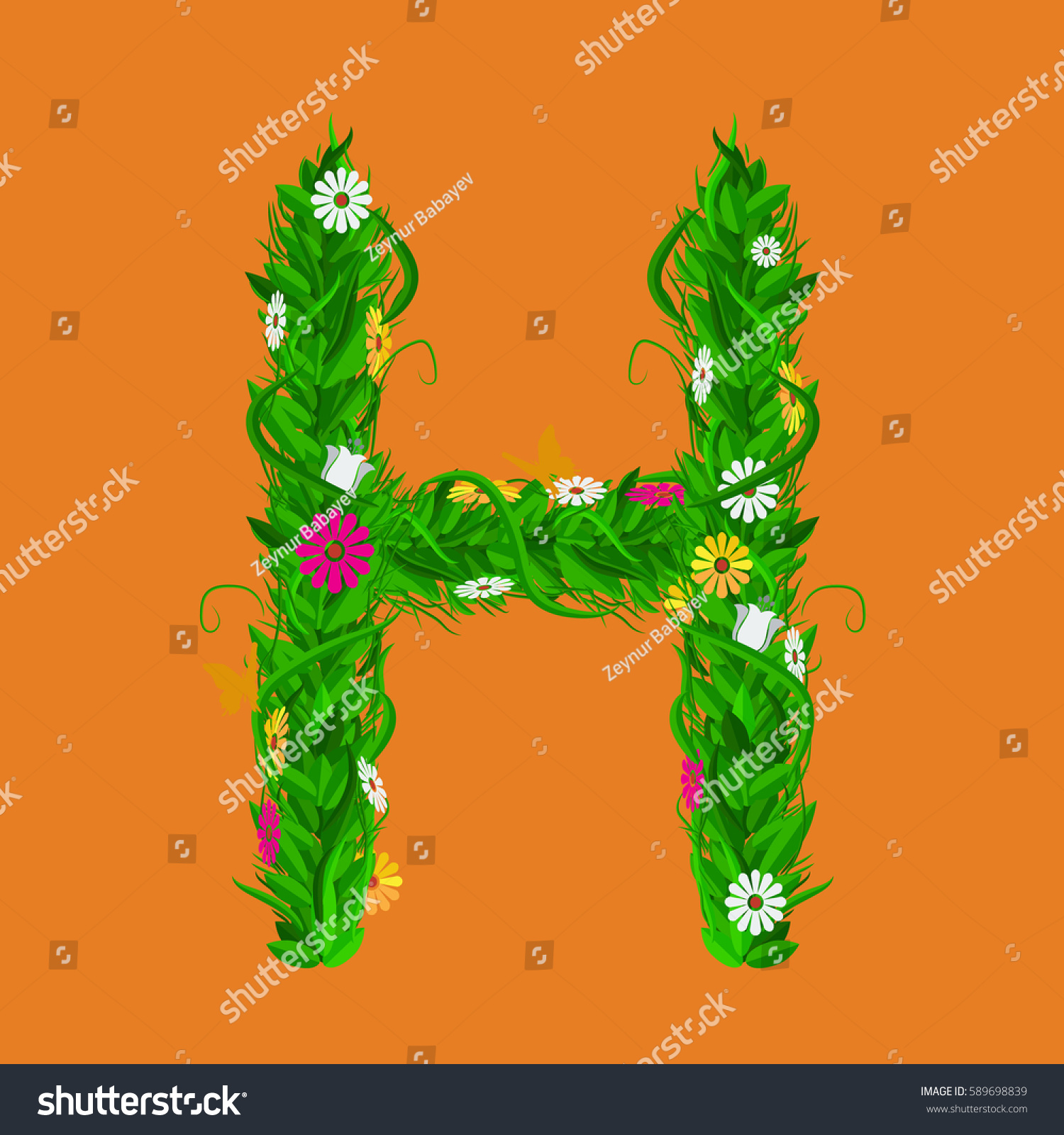 T Green Eco Letter With Leaves And Flowers For Your Design Flat