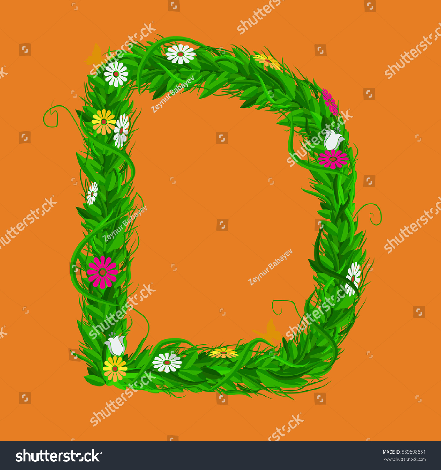 D Green Eco Letter Leaves Flowers Stock Vector Royalty Free