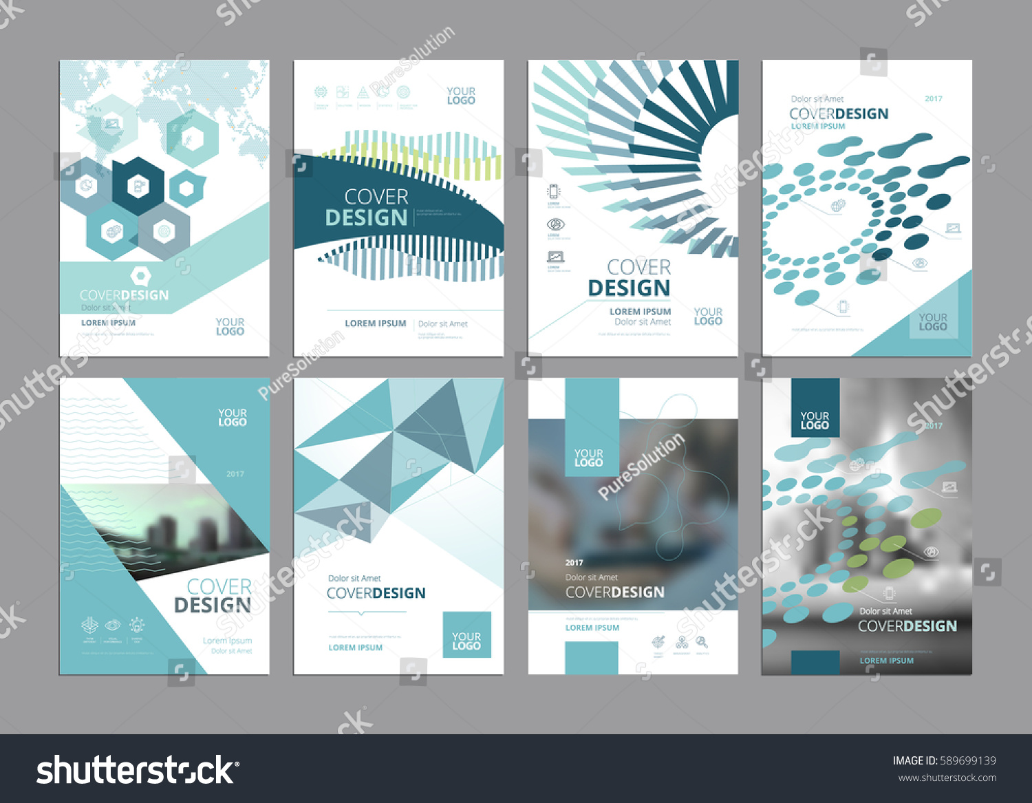 paper ad design templates - set modern business paper design templates stock vector