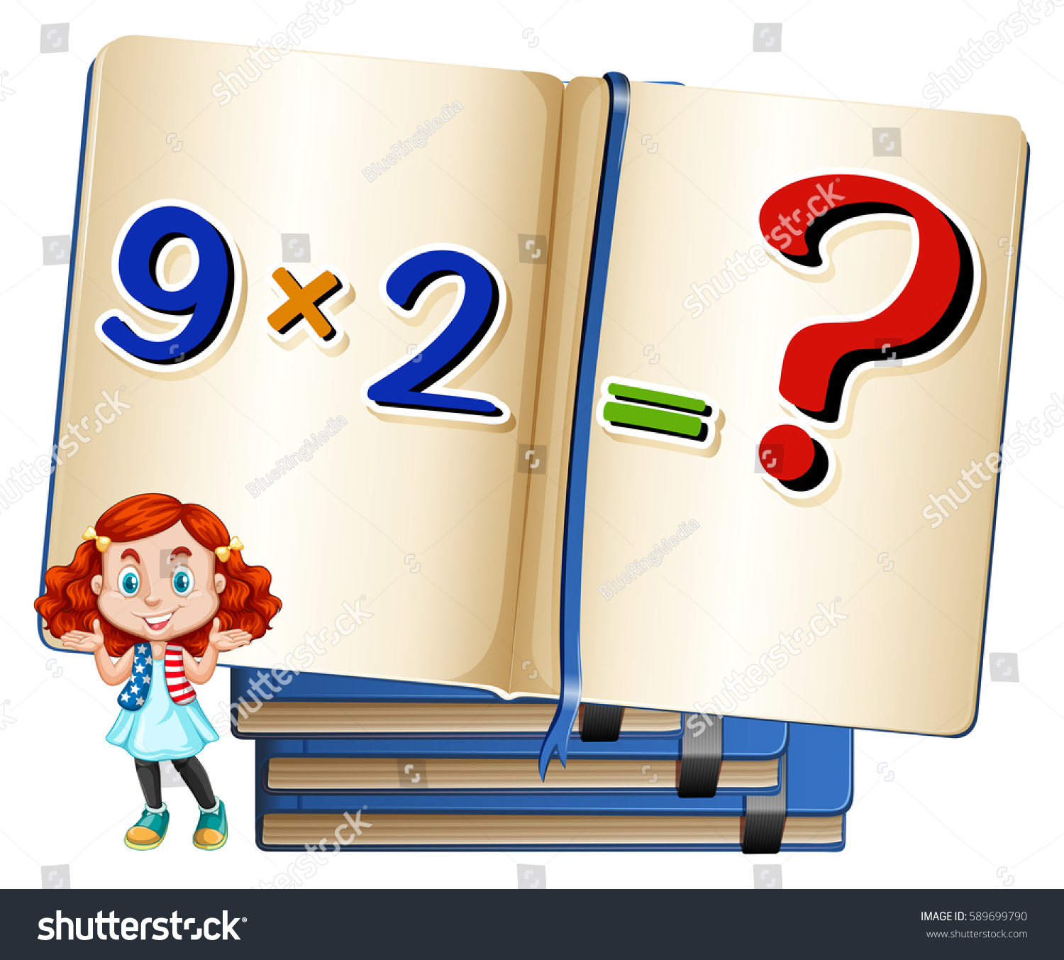 girl multiplication equation book stock vector (royalty free