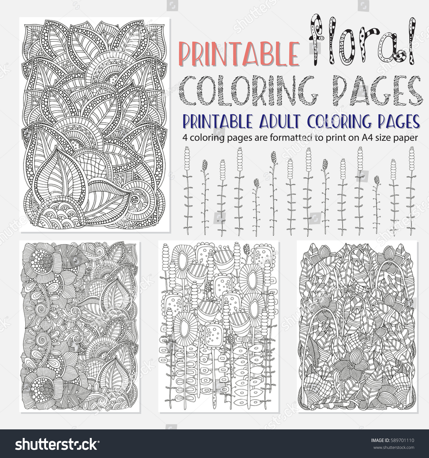 Set Printable Adult Coloring Pages Collection Stock Vector 589701110 ...