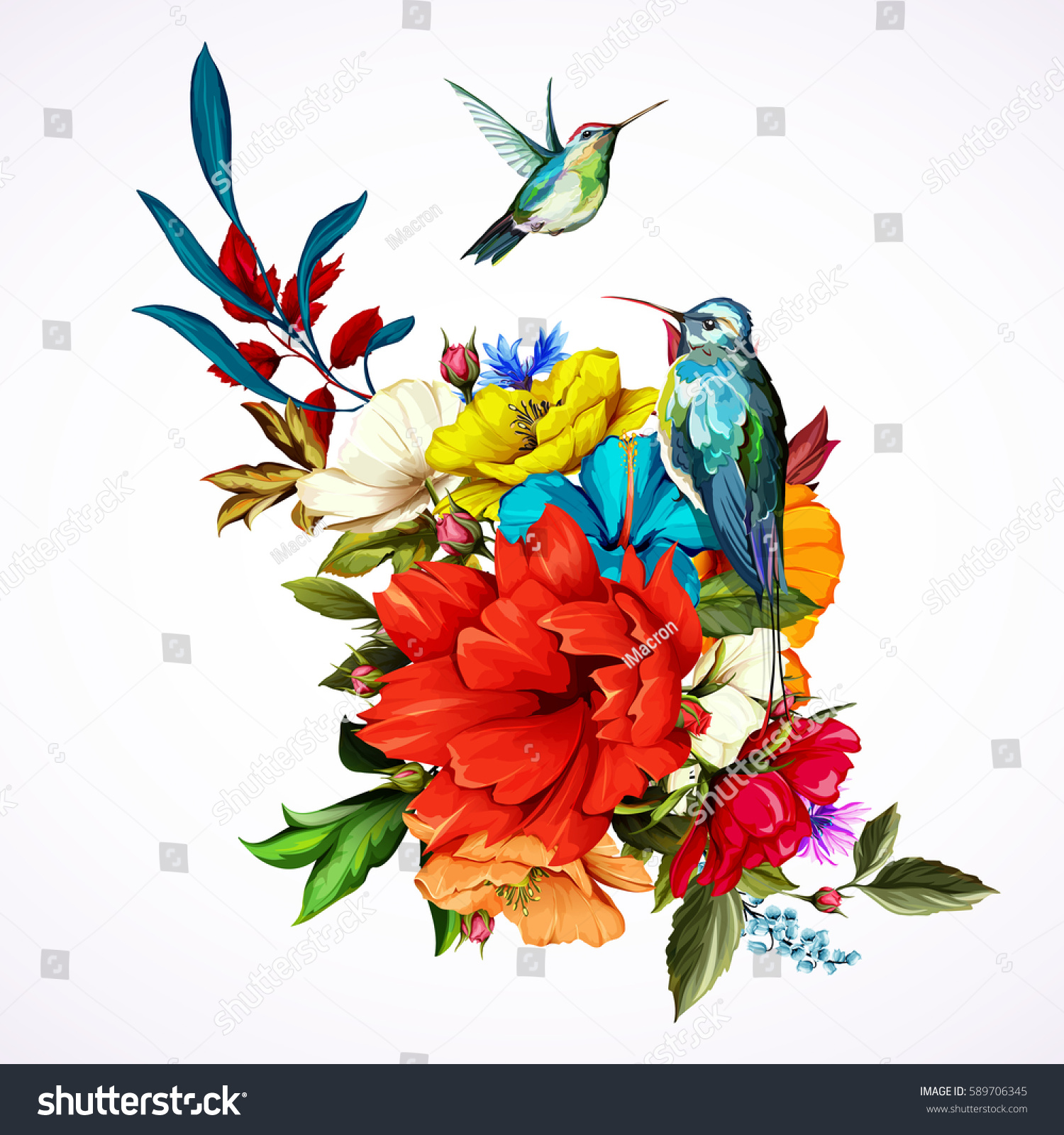 Bouquet flowers roses poppy flowers cornflowers stock vector hd bouquet of flowers with roses poppy flowers cornflowers and two hummingbirds around this izmirmasajfo Images