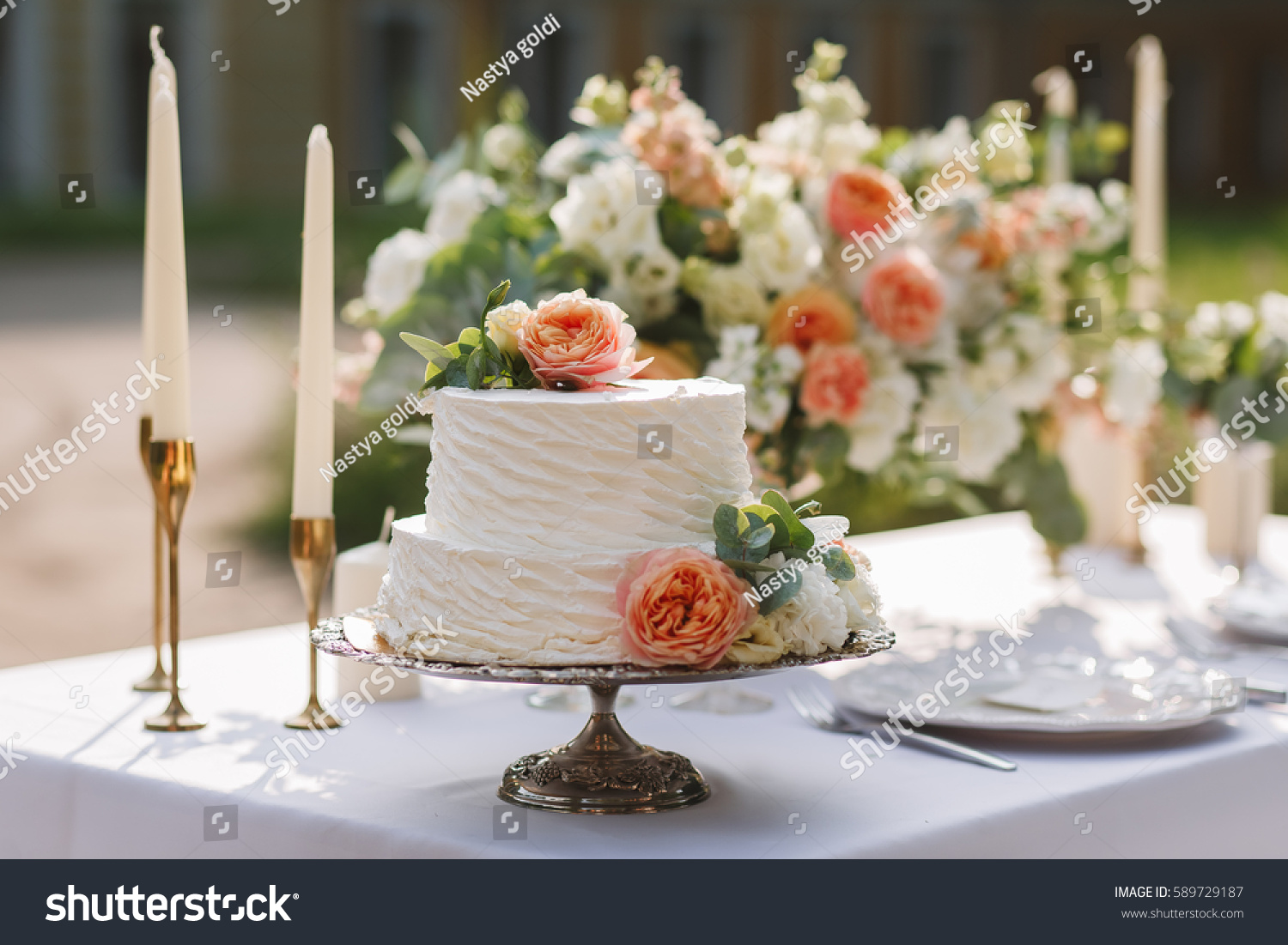 Wedding Decoration Table Garden Floral Arrangement Stock Image