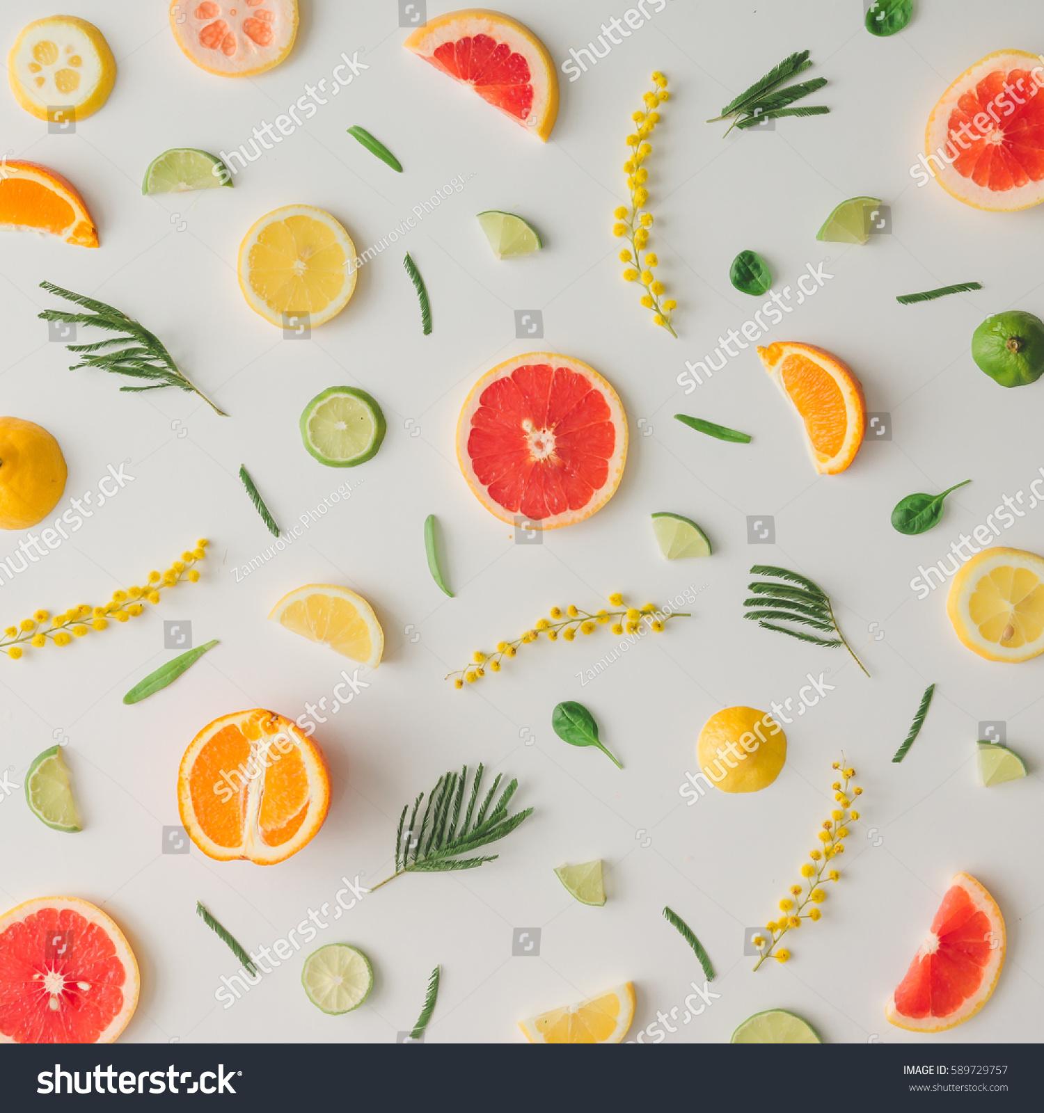 Colorful Food Pattern Made Lemon Orange Stock Photo ...