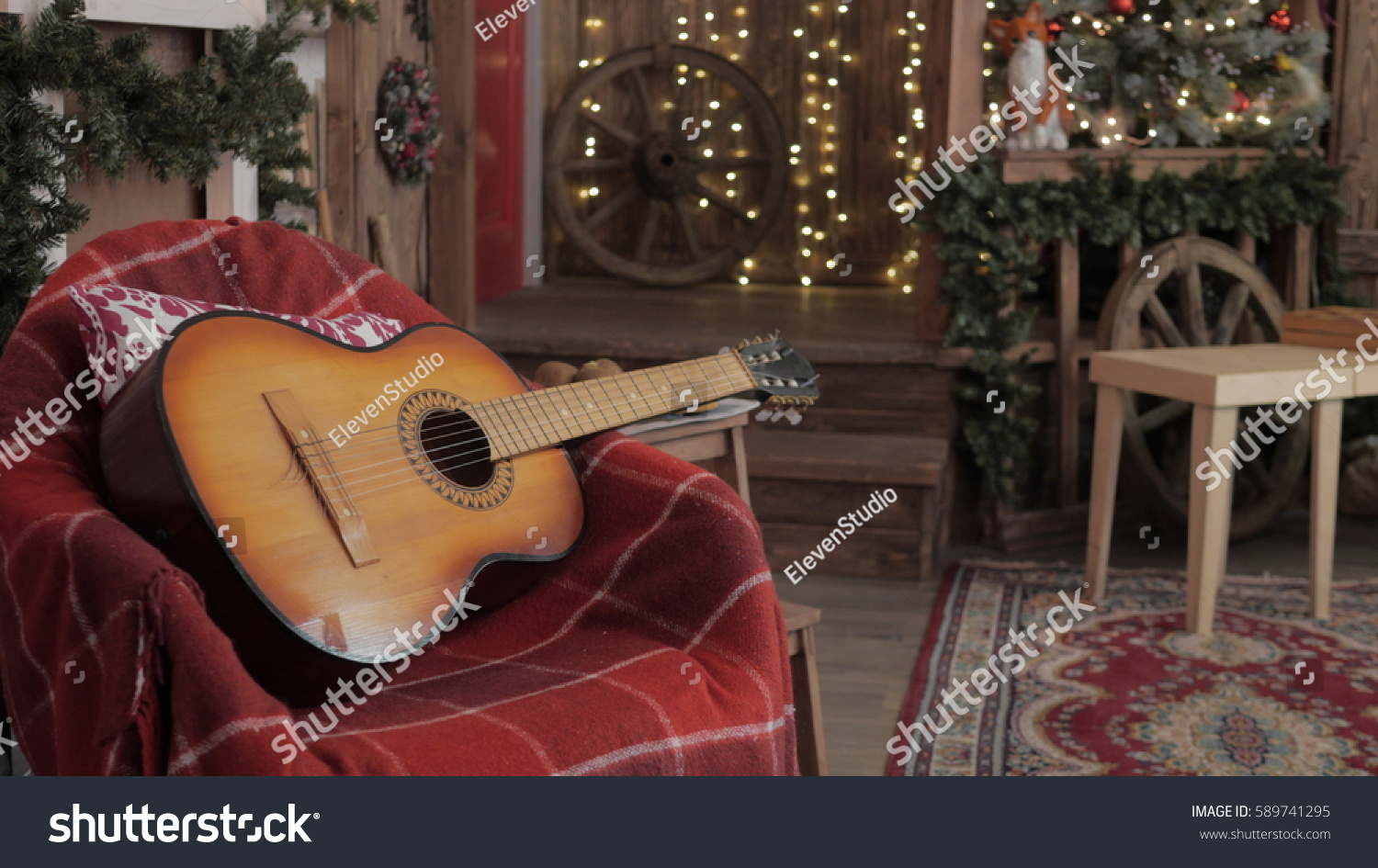 Acoustic Guitar Lights Abstract New Year Stock Photo (Edit