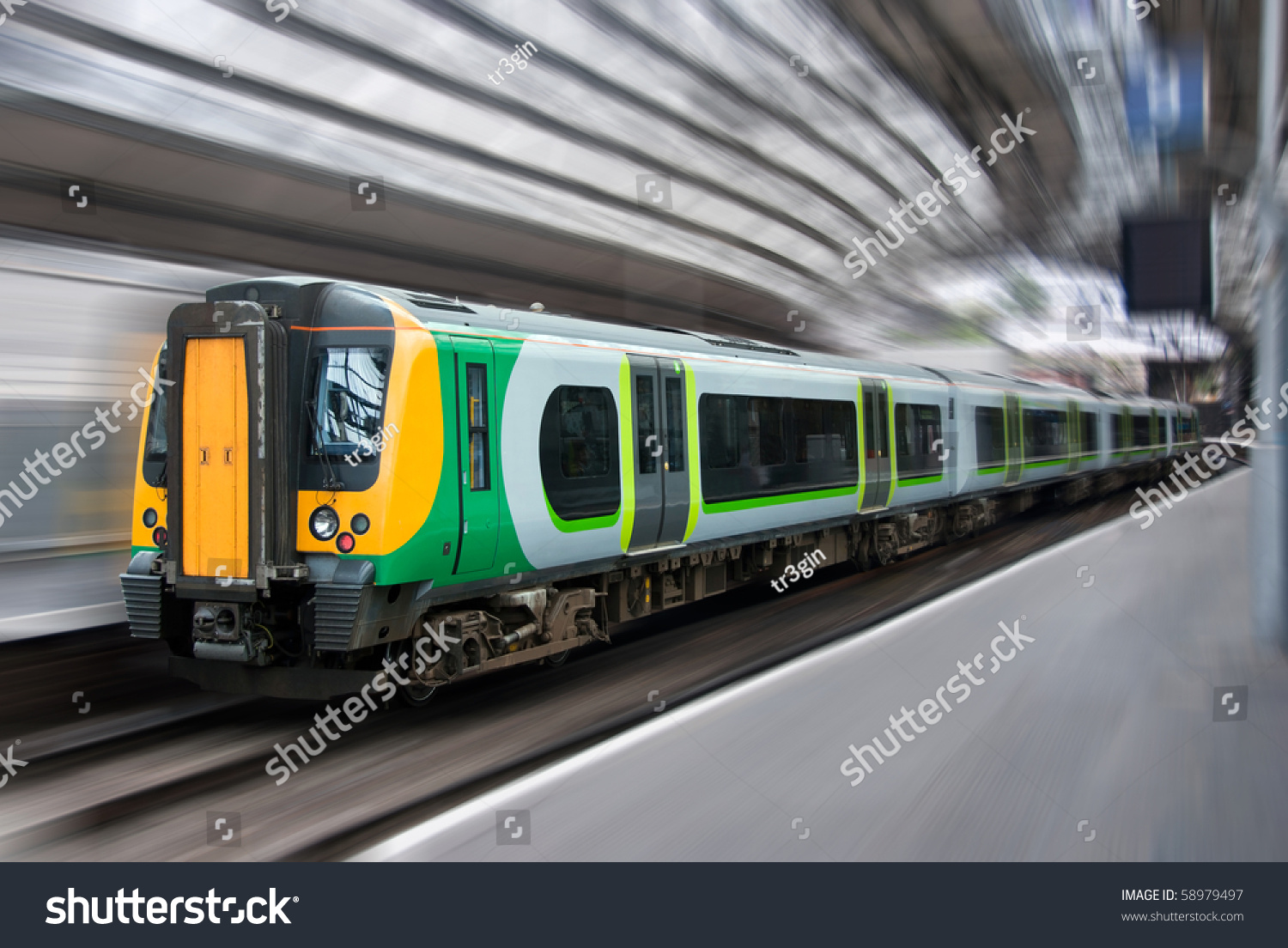 Fast Modern Passenger Speed Commuter Train Side In The ...