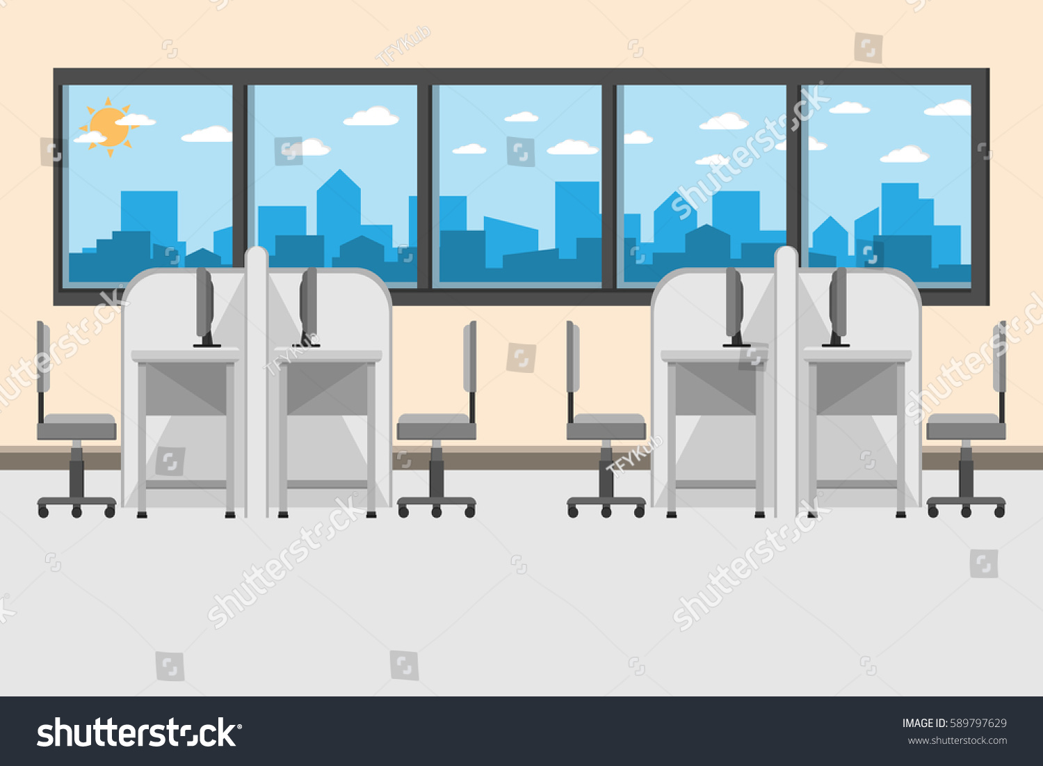 Interior office room design computer on stock vector Computer office interior design