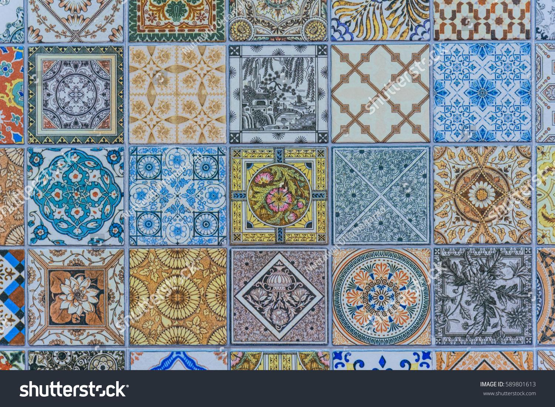 Wall ceramic tiles patterns mega set from thailand public park