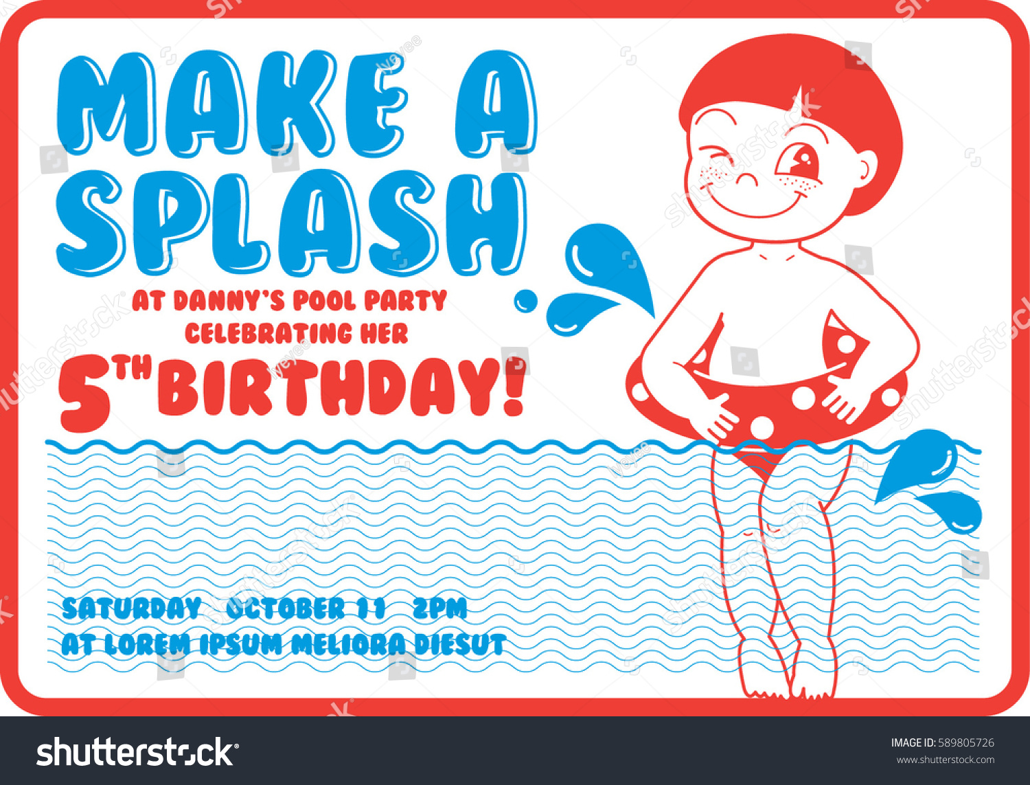 Vintage Birthday Pool Party Invitation Card Stock Vector 2018