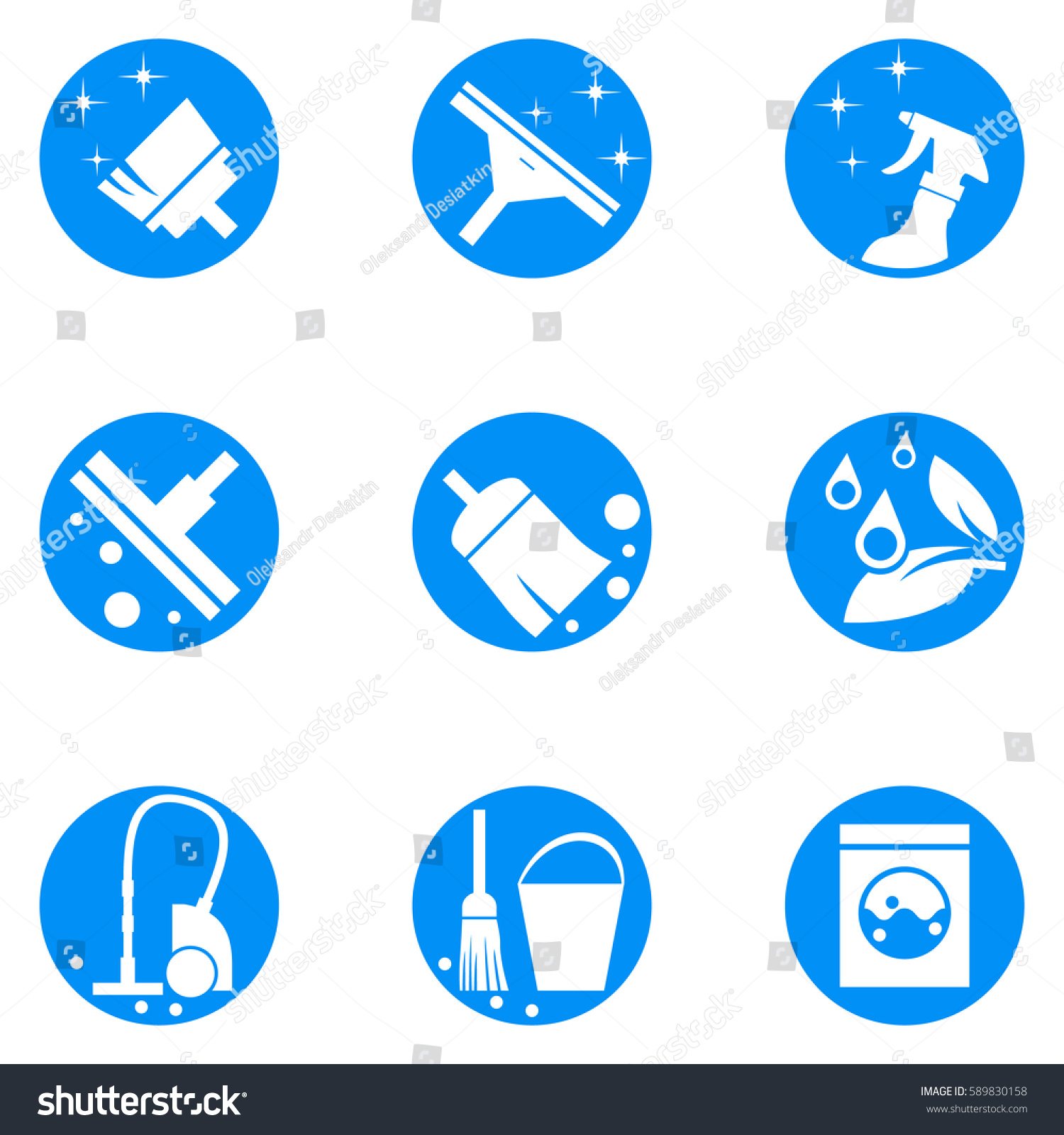 Building Cleaning Service Logo : House cleaning service logo set abstract stock vector