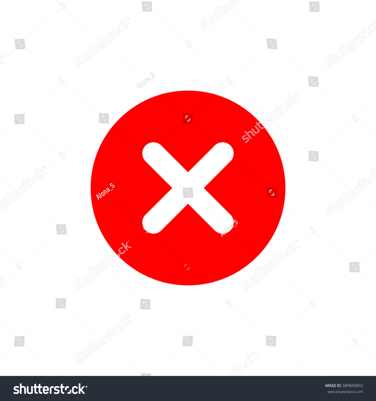 Cross Sign Element Red X Icon Stock Vector Royalty Free 589840892
