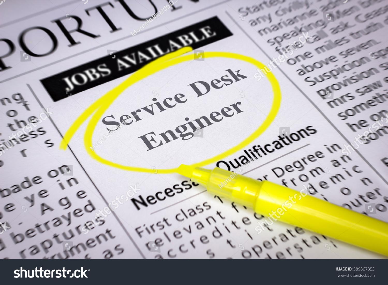 Service Desk Engineer Newspaper Sheet Ads Stock Photo & Image ...