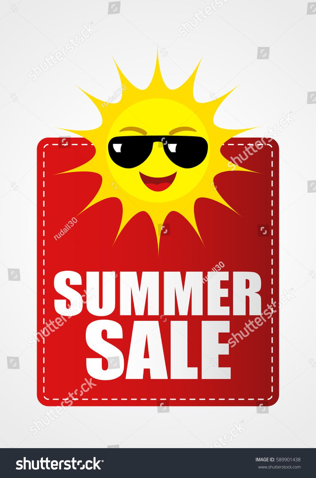 Summer Sale Icon Funny Sun Cartoon Stock Vector 589901438 ...