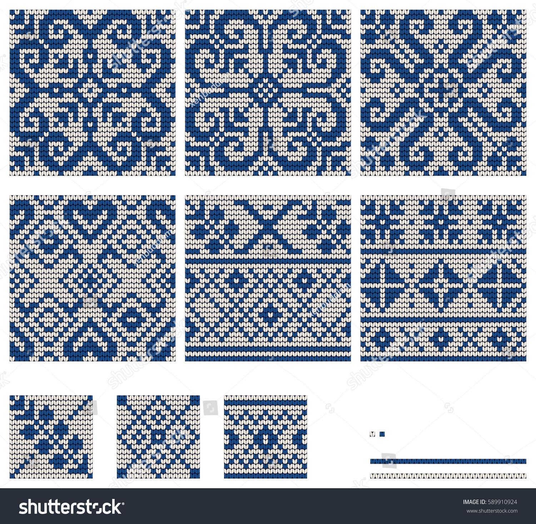 Set Norwegian Star Knitting Patterns Stock Vector 589910924 ...