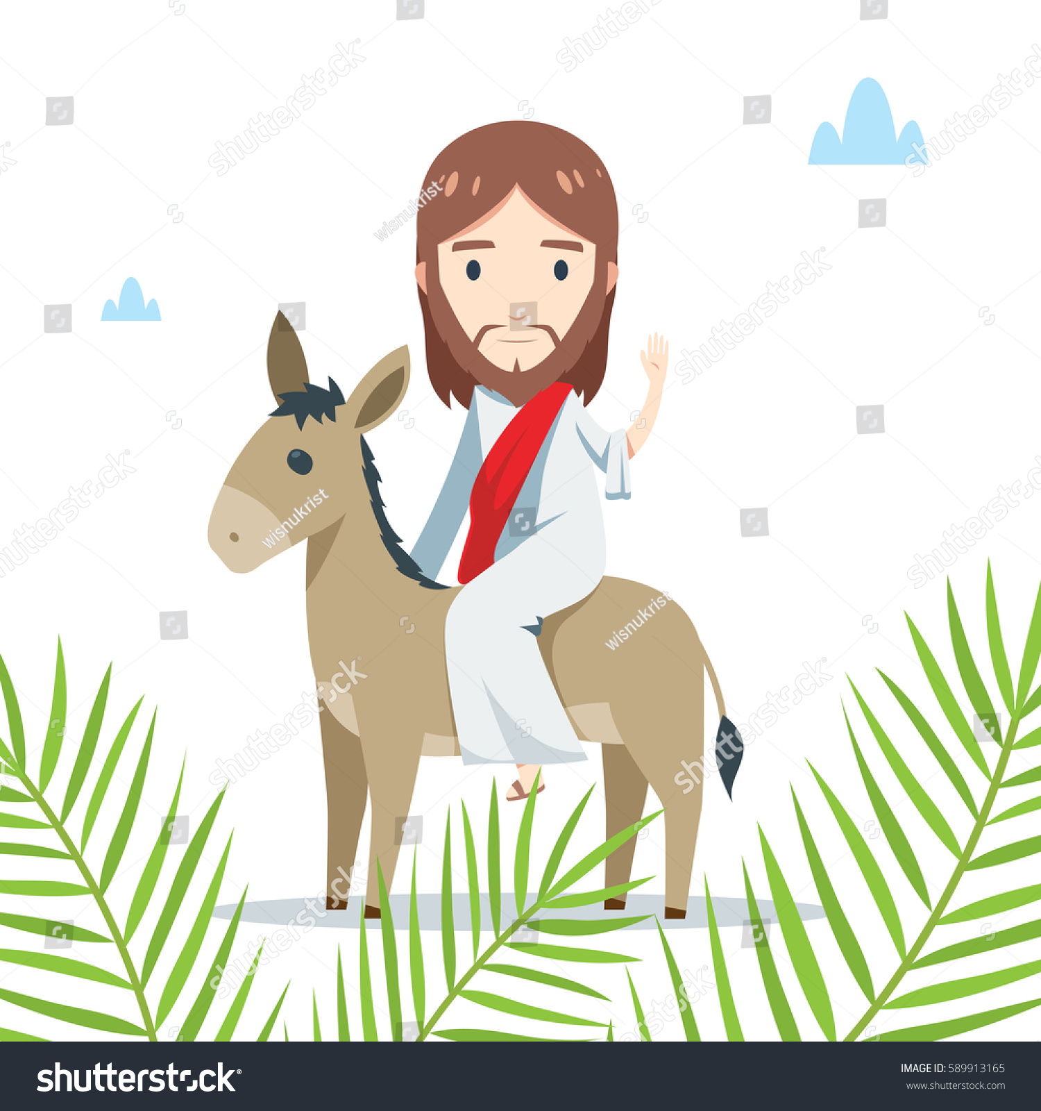 palm sunday jesus is riding a donkey behind palm leaves