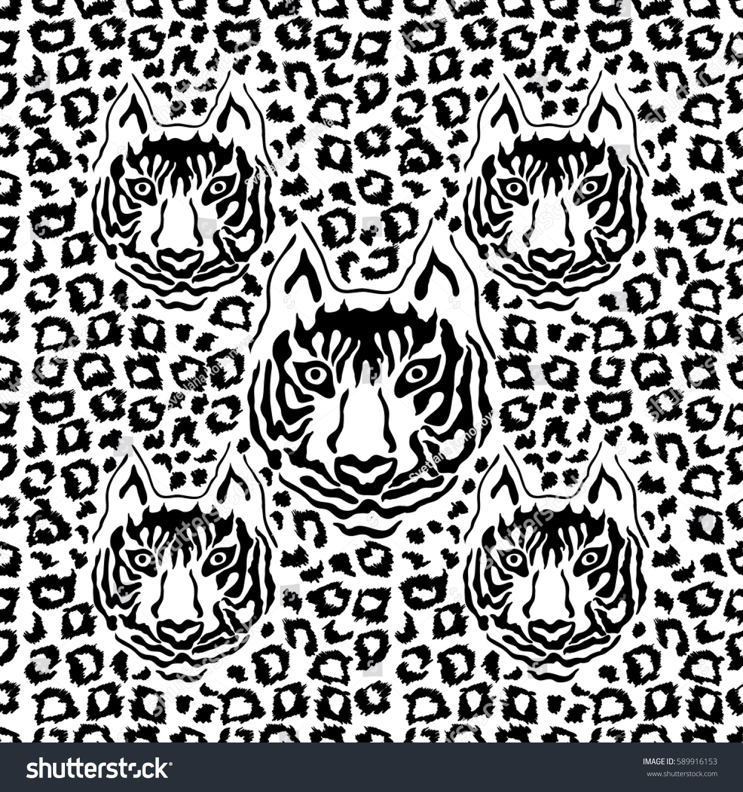 Optical illusion animal print seamless vector pattern with tiger face and leopard spots safari
