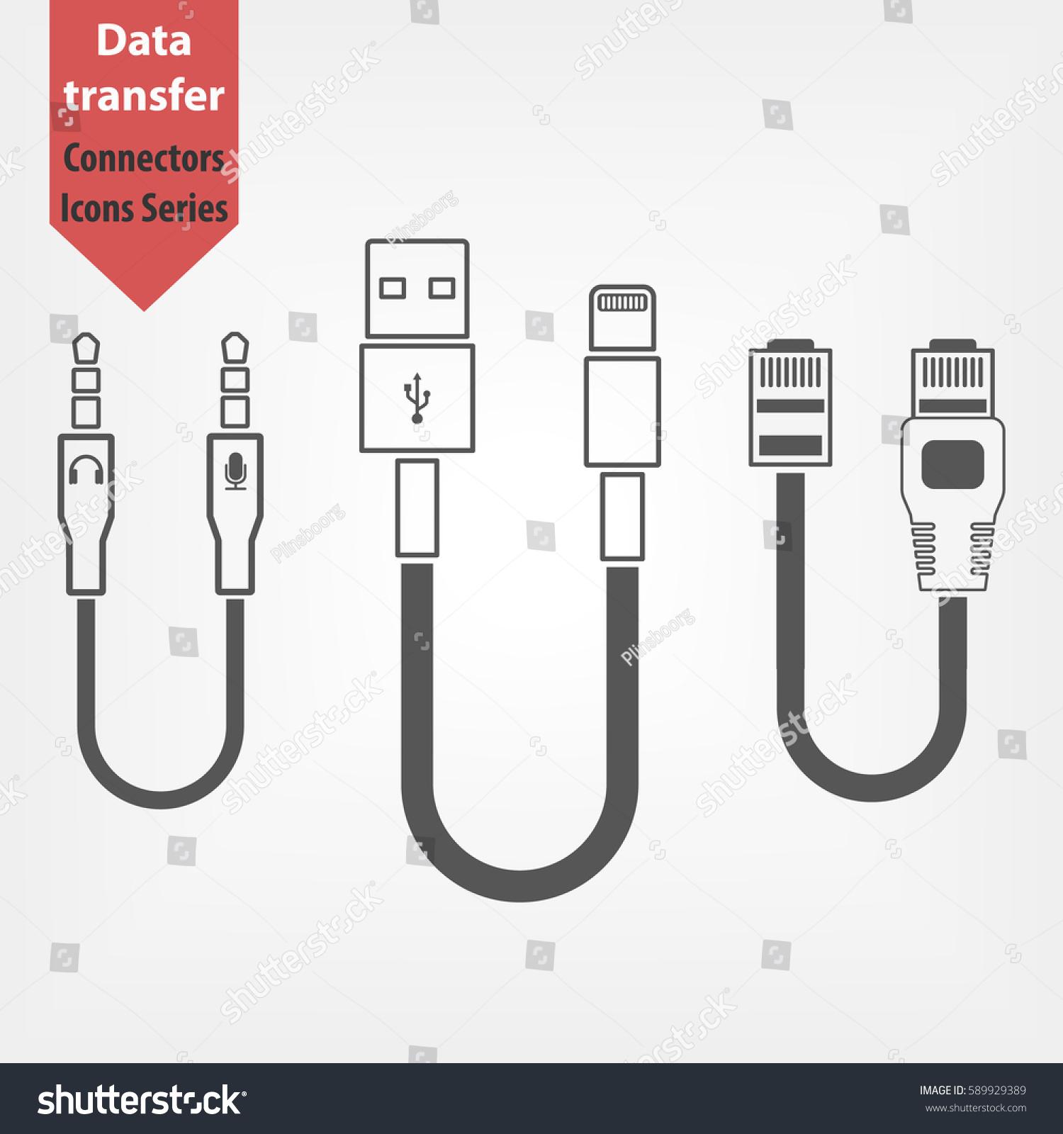 Plug Wire Cable icons Set. TRS audio jack usb lightning and ethernet connectors  sc 1 st  Shutterstock : wiring ethernet jack - yogabreezes.com