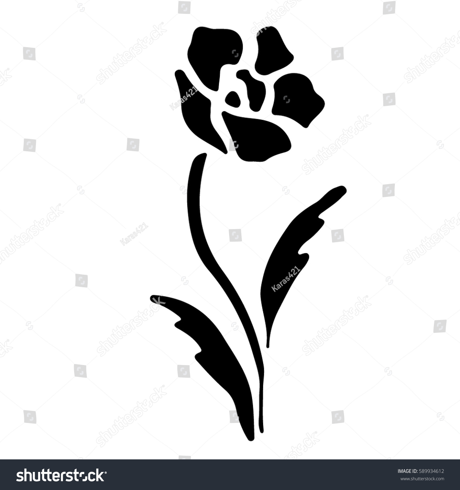Gorgeous Beautiful Flowers Sketch Art Stencil Stock Vector 589934612