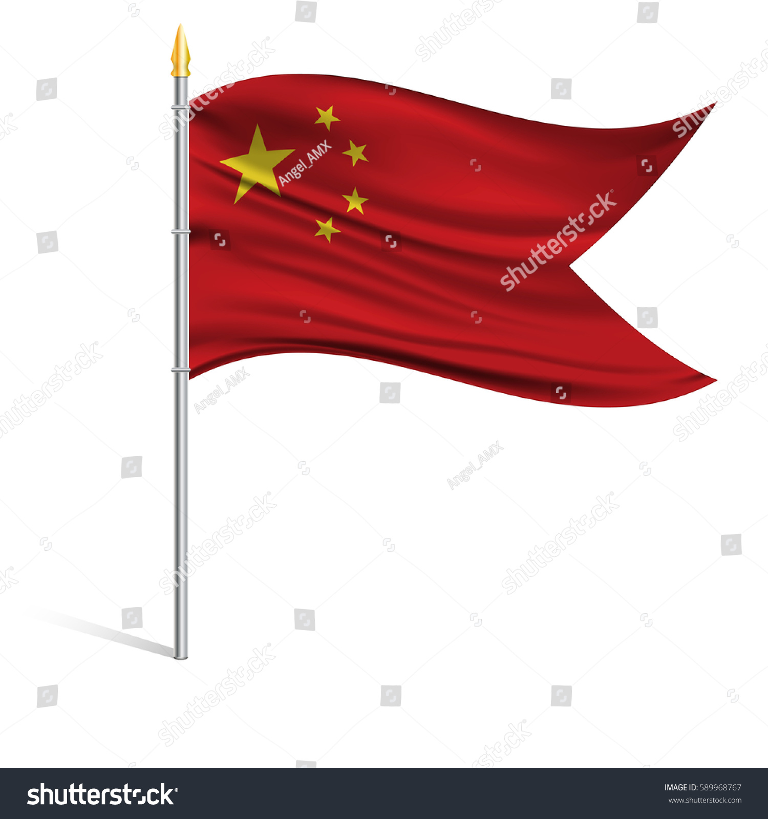 national flag china on pole wavy stock vector 589968767 shutterstock