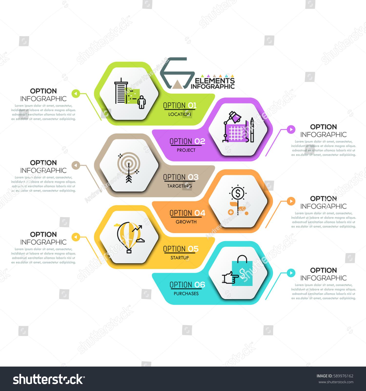 Creative Infographic Design Template 6 Hexagonal Vector de stock ...