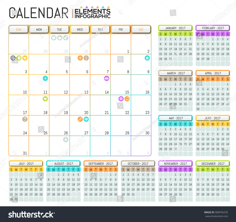 Modern Calendar 2017 Template Design Place Stock Vector 589976276 ...