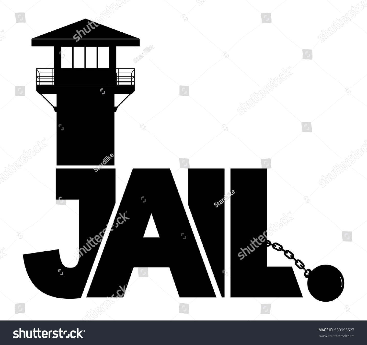 Icon Jail Vector Prison Black Tower Stock Vector (Royalty Free ...