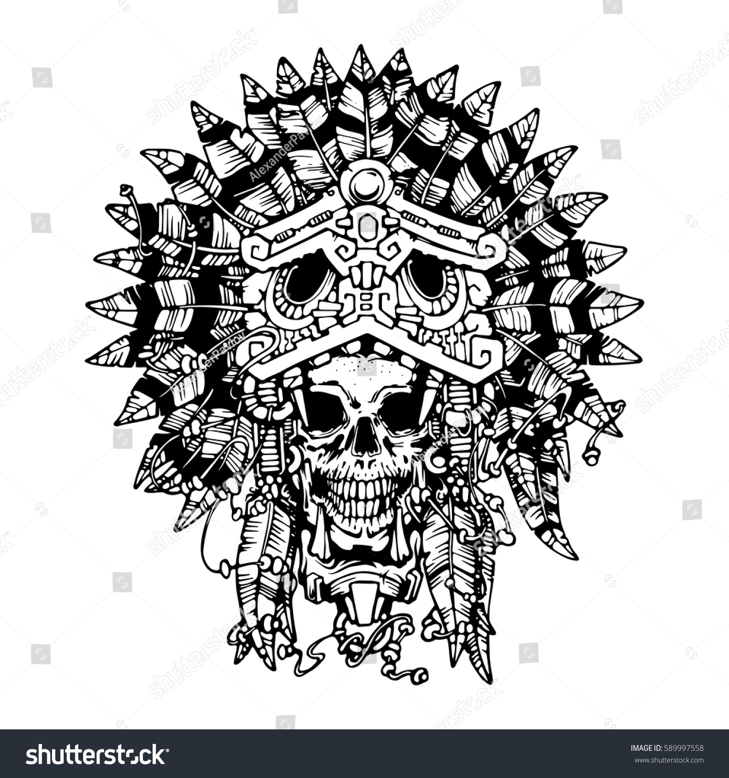 Aztec jaguar warrior tattoo vector illustration stock for Jaguar warrior tattoo