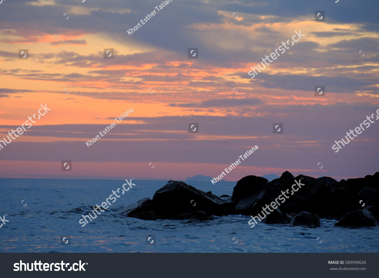 Sunset Sea Pastel Colors Serene Landscape Stock Photo ...