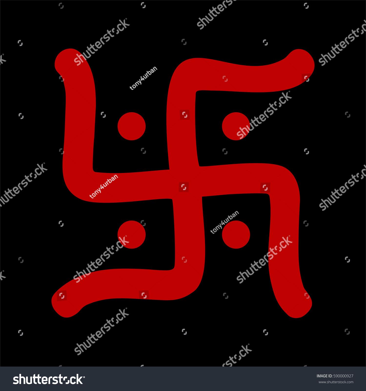 Red hindu swastika religious symbol over stock illustration red hindu swastika religious symbol over black biocorpaavc
