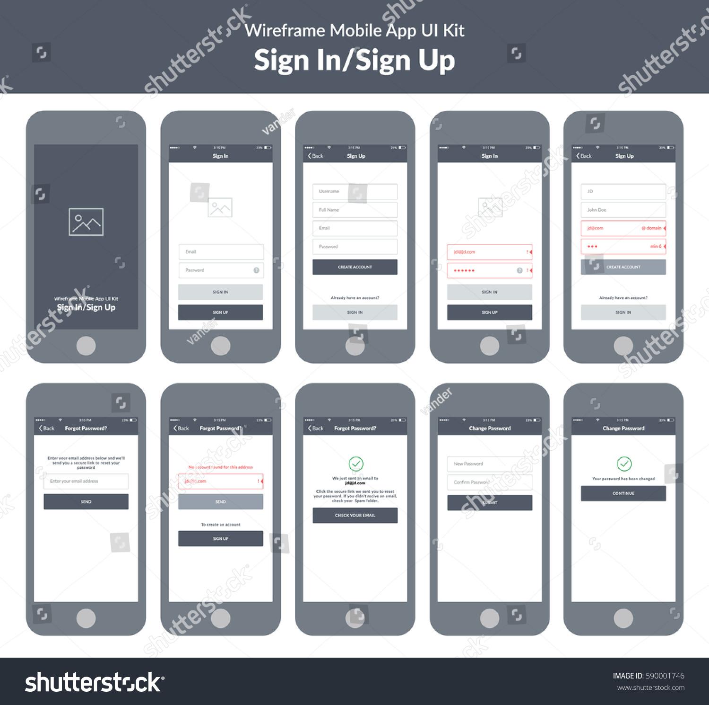 Wireframe Kit Mobile Phone Mobile App Stock Vector