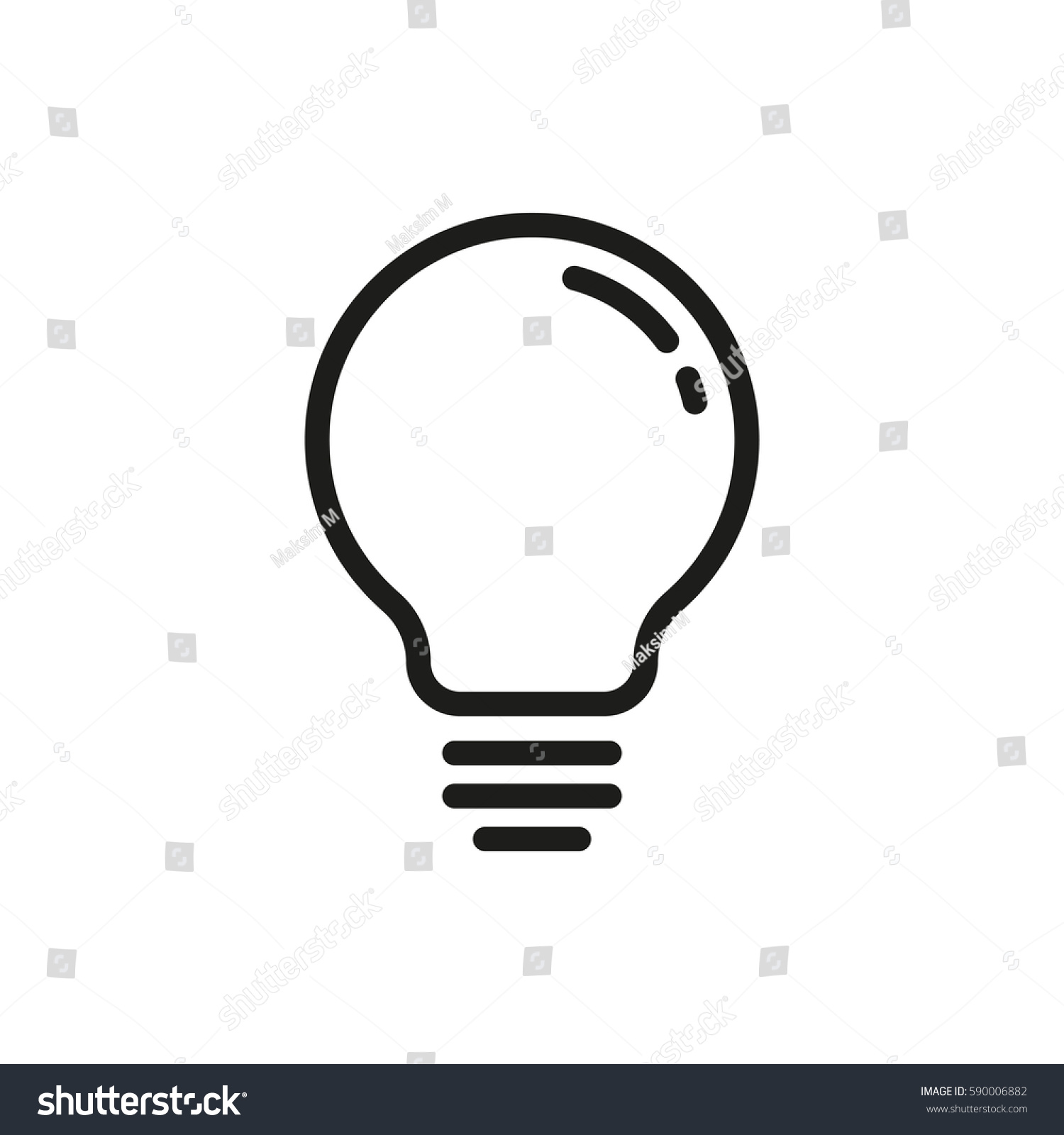 lightbulb vector icon stock vector 2018 590006882 shutterstock rh shutterstock com vector light bulb clip art light bulb icon vector