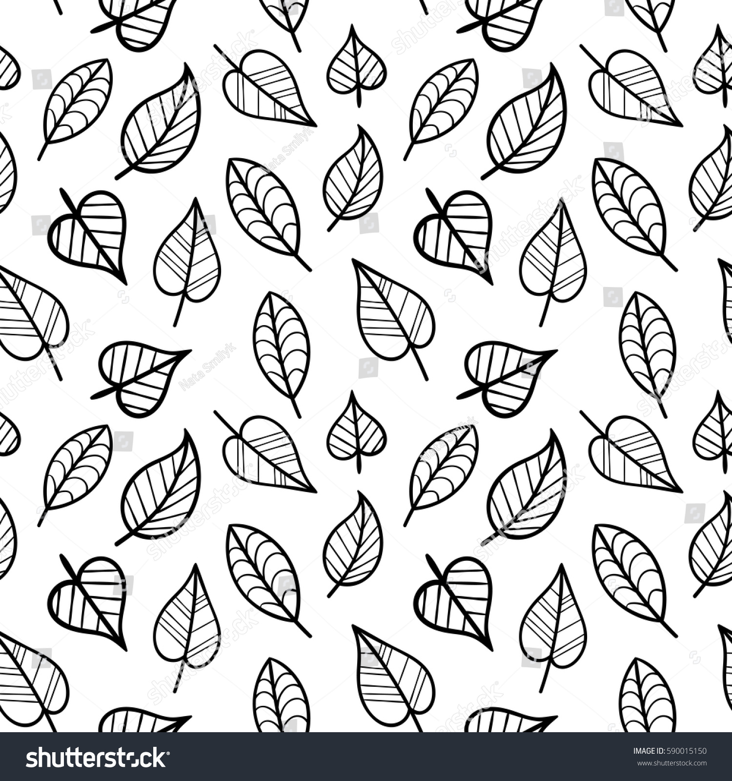 Coloring Page Seamless Pattern with Fall. Black and White Contour ...