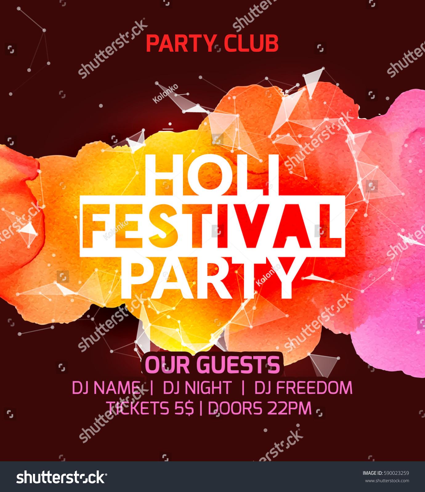happy holi festival background poster design のベクター画像素材