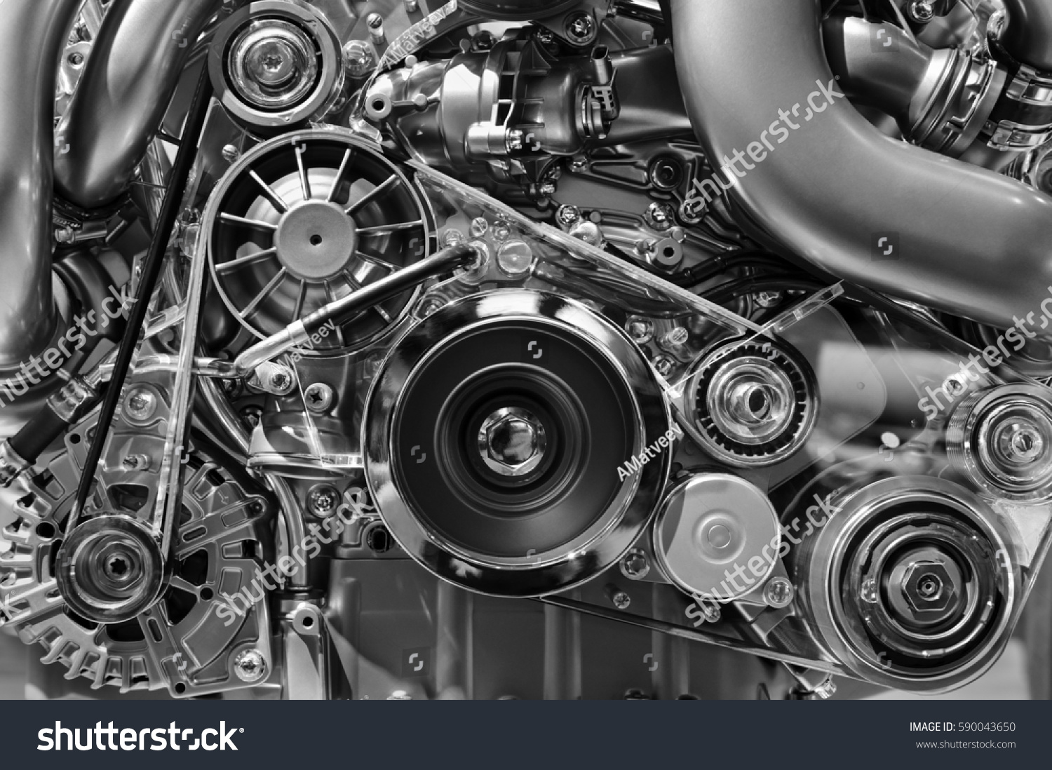 Car engine, concept of modern vehicle motor with metal, chrome, plastic parts, heavy industry, monochrome  #590043650