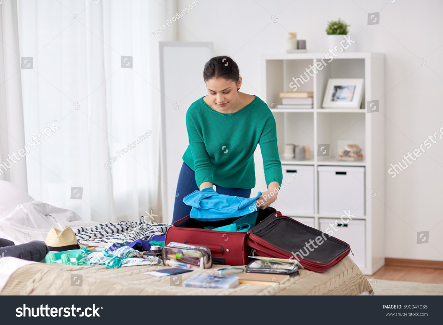 Tourism People Luggage Concept Happy Young Stock Photo ...