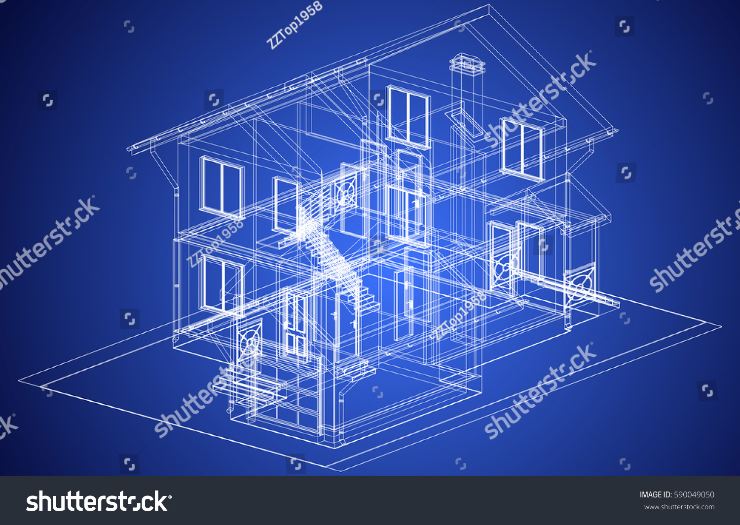 The Blueprint Of Architectural Design Of Half Timbered Residential House  With The Terrace. Vector