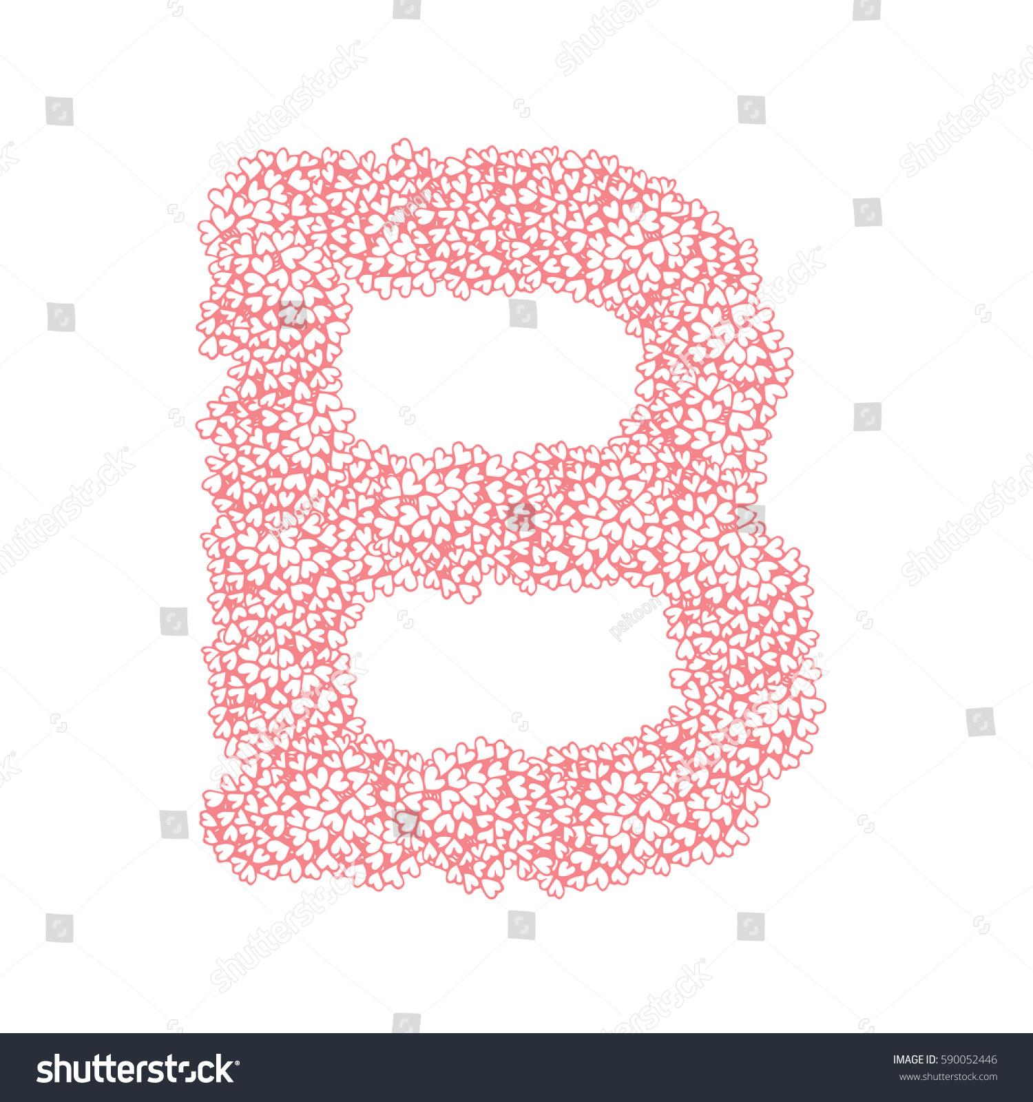 Letter B Alphabet Heart Flower Bush Stock Vector (Royalty Free ...