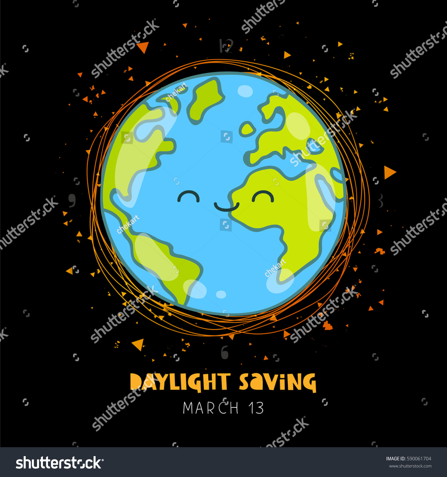 Daylight saving vector illustration planet earth stock vector 2018 daylight saving vector illustration of planet earth on a black background lettering ecology gumiabroncs Images