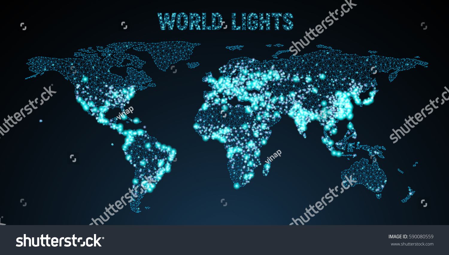 Vector lowpoly image global map lights stock vector 590080559 vector low poly image of a global map with lights in the form of world gumiabroncs Images