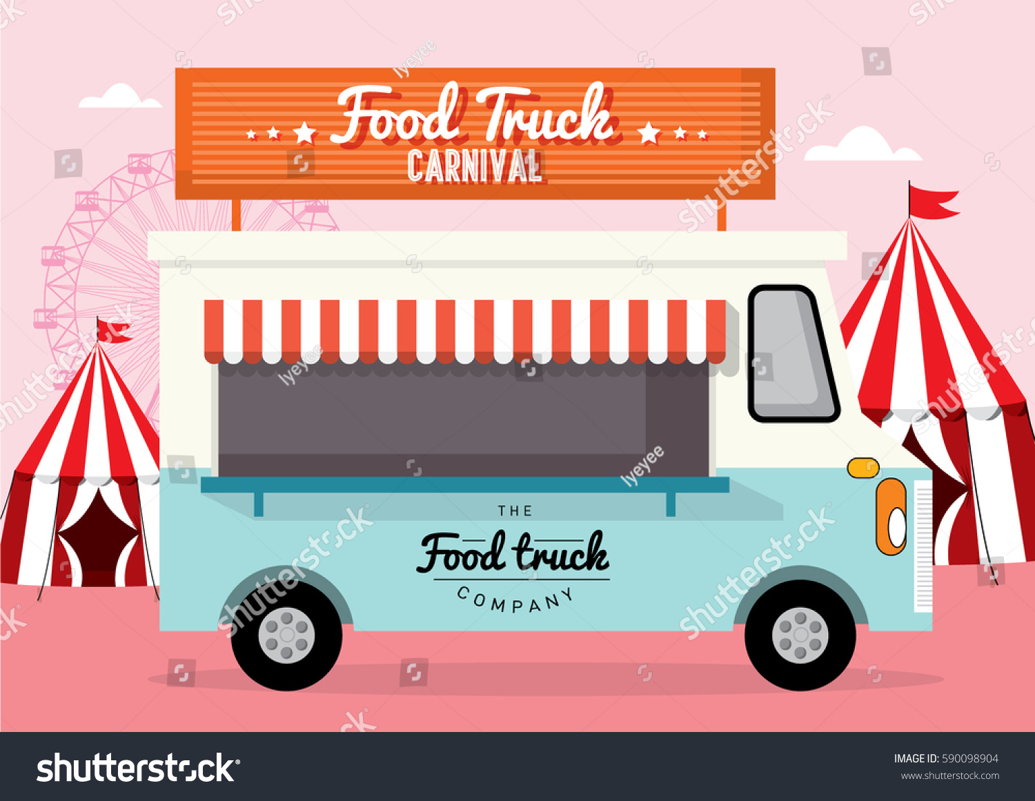Food truck carnival template vectorillustration stock vector food truck carnival template vectorillustration pronofoot35fo Images