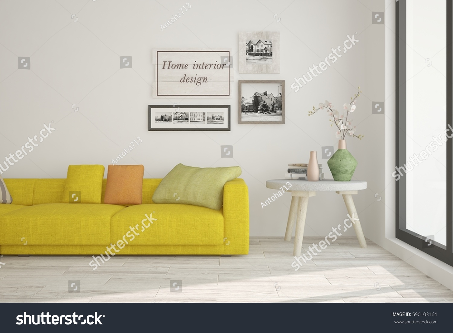 White Room Yellow Sofa Scandinavian Interior Stock