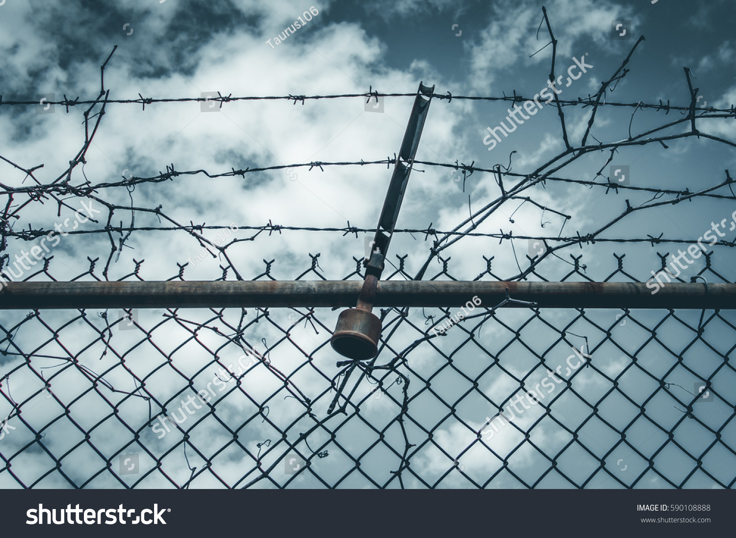 Abstract Chain Link Fence Barbed Wire Stock Photo (Edit Now ...